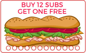 Sub Card - Buy 12 Subs Get 1 Free